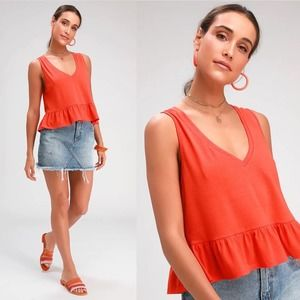Lulu's   Coral Red V-Neck Ruffled Crop Top